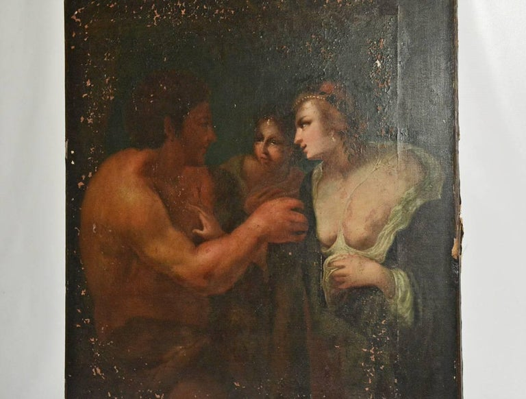 The antique unframed oil painting on canvas is in the Renaissance style. Two ladies are conversing with the man on the right. Canvas is stretched on wood framing in back.