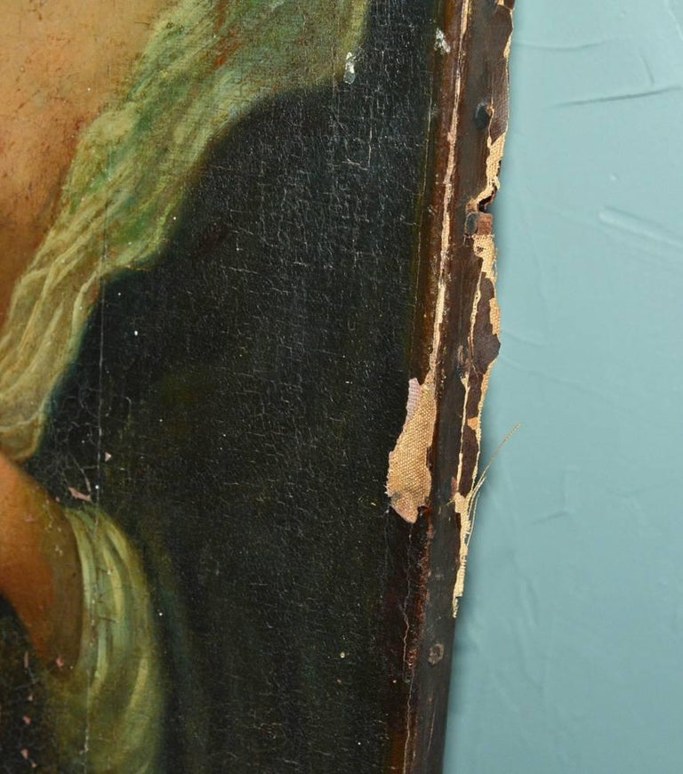 Antique Oil Painting on Canvas In Fair Condition For Sale In Great Barrington, MA