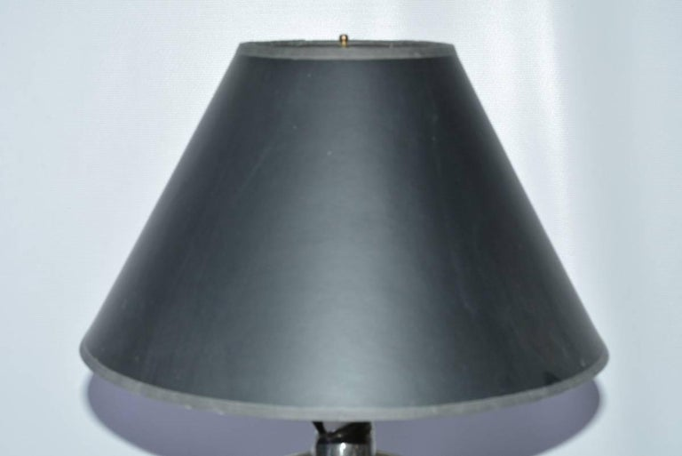 Vintage Three-Footed Italian Candlestick Table Lamp with Shade In Good Condition For Sale In Great Barrington, MA