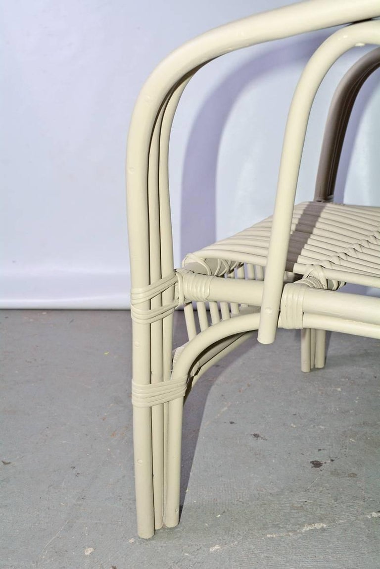 Woven Vintage Rattan Armchair For Sale