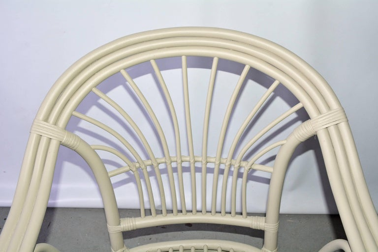 Vintage Rattan Armchair In Excellent Condition For Sale In Great Barrington, MA