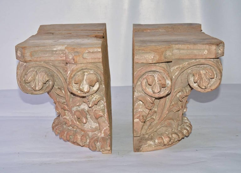Classical Roman Antique Hand-Carved Wood Corinthian Pilaster Capitals For Sale