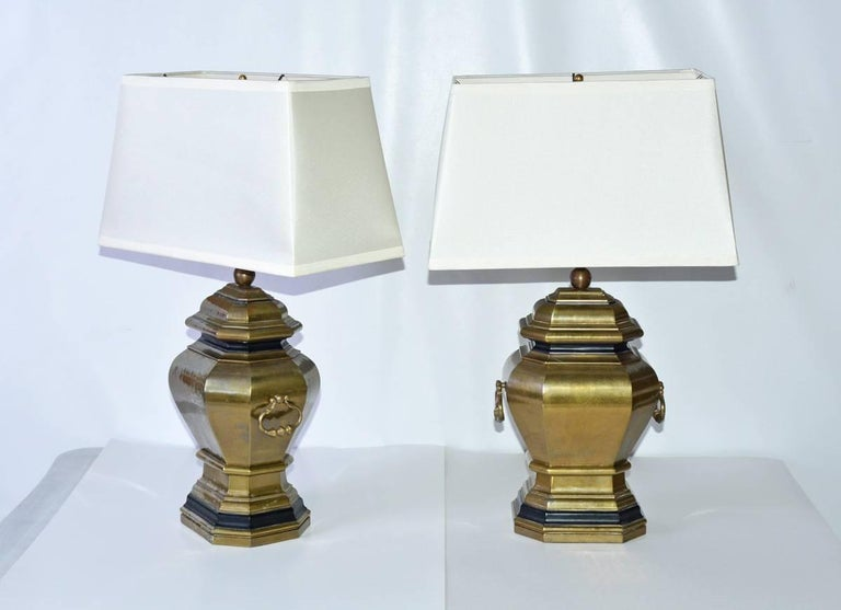 Vintage Brass Handled Lamps with Shades, Pair 2