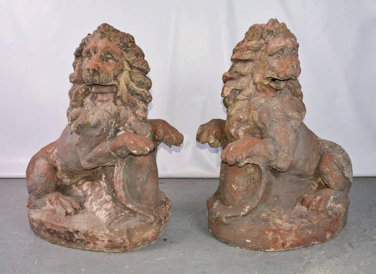 Baroque Pair of 19th Century Terracotta Lions For Sale