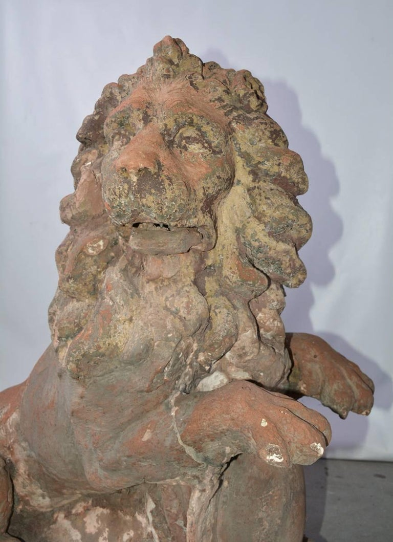 Pair of 19th Century Terracotta Lions In Good Condition For Sale In Great Barrington, MA