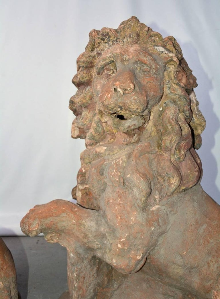 Pair of 19th Century Terracotta Lions For Sale 1