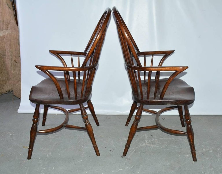 Elm Set of Eight Georgian Style Windsor Dining Chairs For Sale