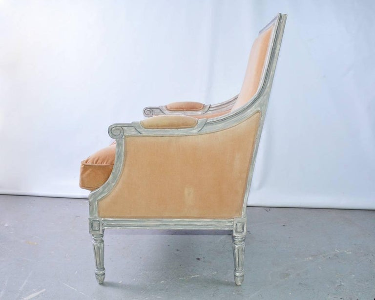 Gustavian French Louis XVI Style Painted Bergere Armchair For Sale