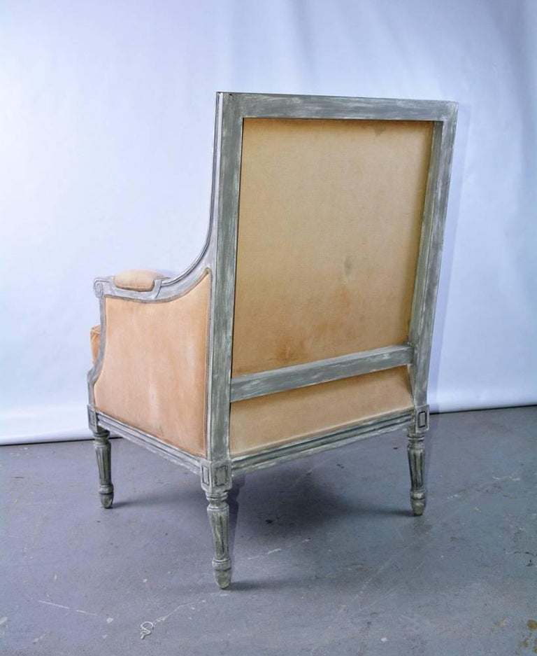 Hand-Painted French Louis XVI Style Painted Bergere Armchair For Sale