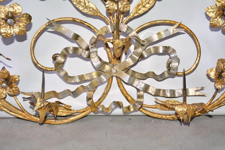 Baroque Antique Gilt Metal 12-Candle Floral Wall Sconce For Sale