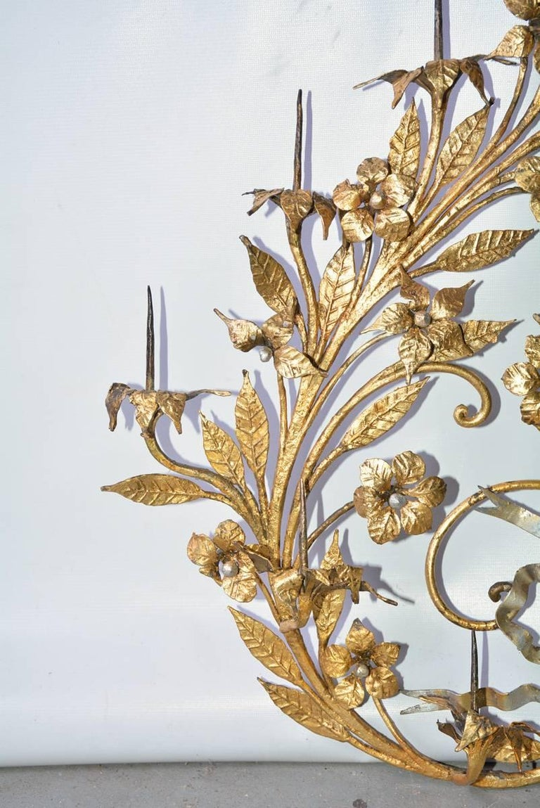 Italian Antique Gilt Metal 12-Candle Floral Wall Sconce For Sale