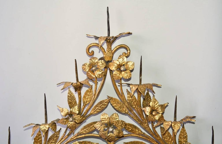 Hand-Painted Antique Gilt Metal 12-Candle Floral Wall Sconce For Sale