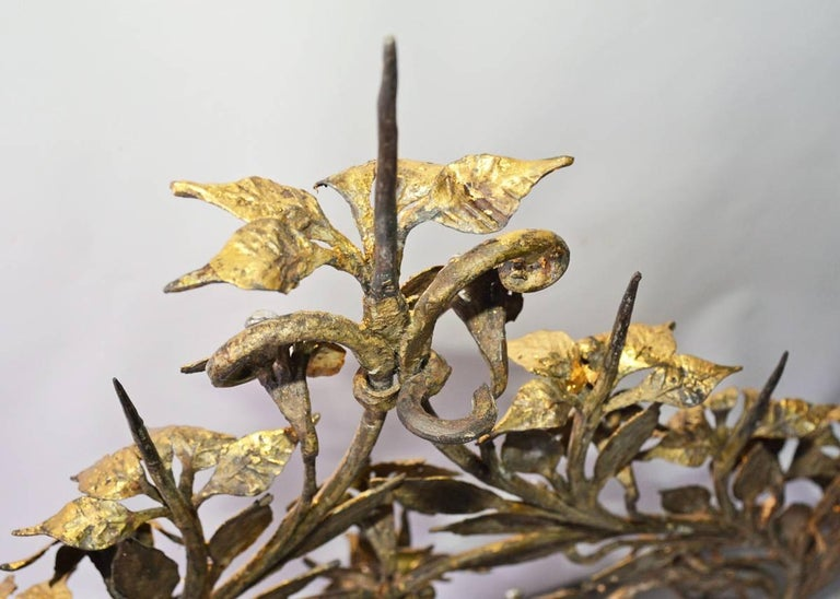 20th Century Antique Gilt Metal 12-Candle Floral Wall Sconce For Sale