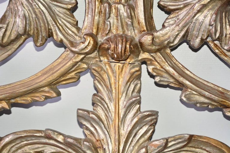 Italian Antique Silver Gilt Hand-Carved Wood Pediment