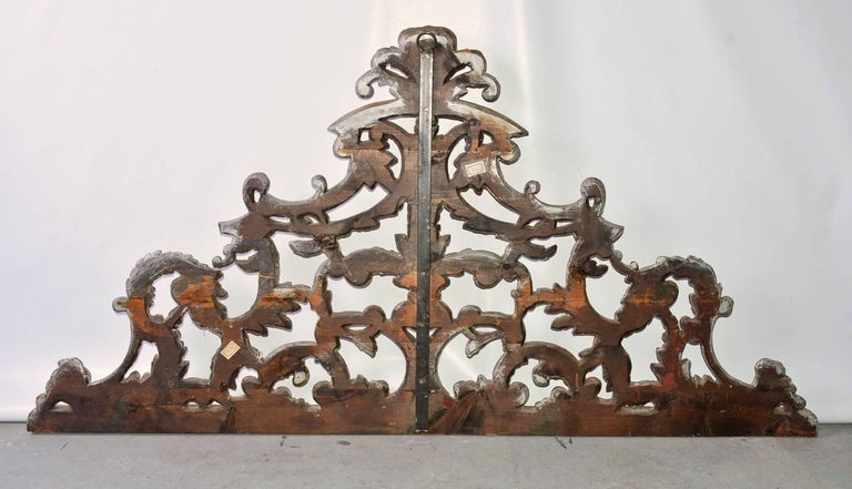 19th Century Antique Silver Gilt Hand-Carved Wood Pediment