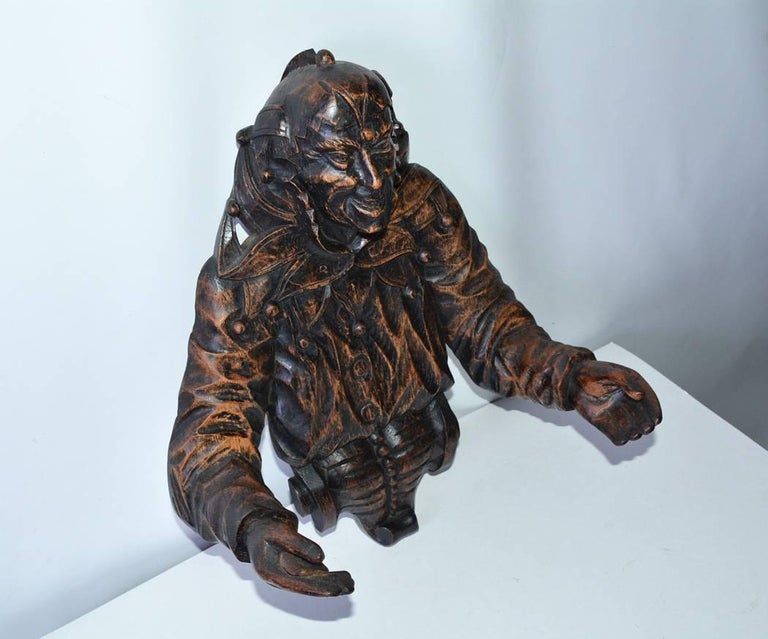 Hand-Carved Gothic Revival Carved Wood Jester For Sale