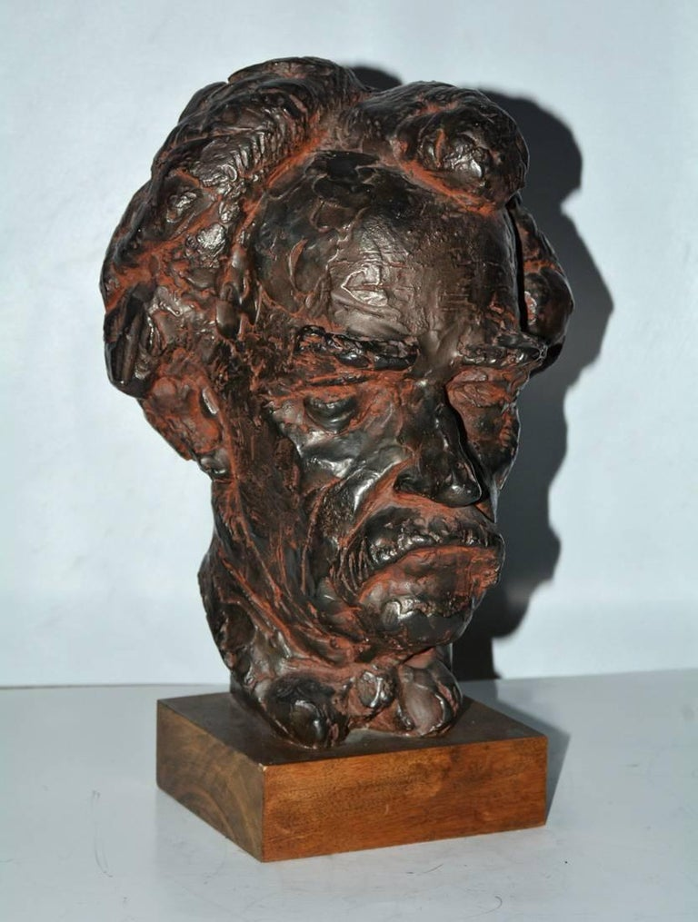 American Head Sculpture, Mark Twain For Sale