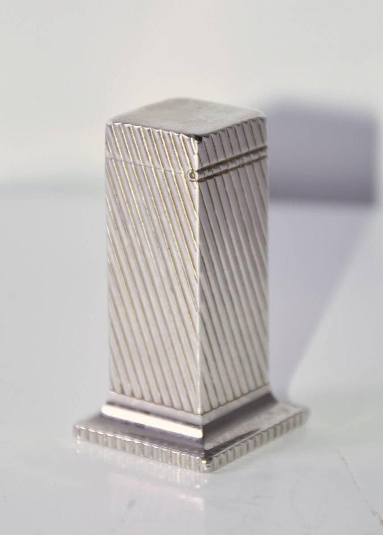 Art Deco Dunhill Rollalite Silver Plated Table Lighter For Sale