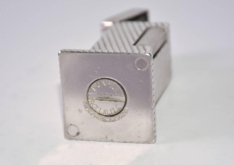Dunhill Rollalite Silver Plated Table Lighter In Good Condition For Sale In Great Barrington, MA