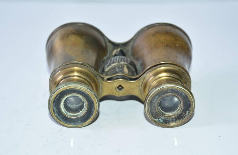 Brass Antique French Verres Supérieurs Binoculars For Sale