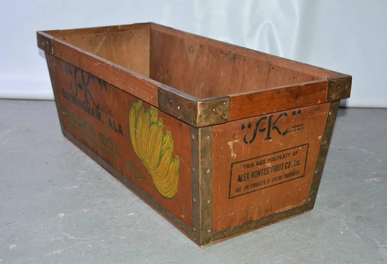 Folk Art Large Wood Crate by Alex Kontos Fruit Co., Alabama For Sale