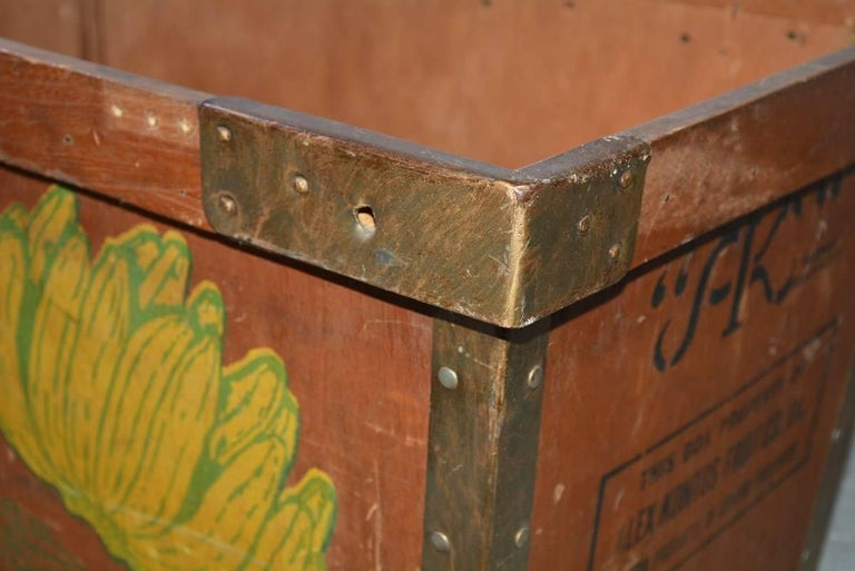 Hand-Crafted Large Wood Crate by Alex Kontos Fruit Co., Alabama For Sale
