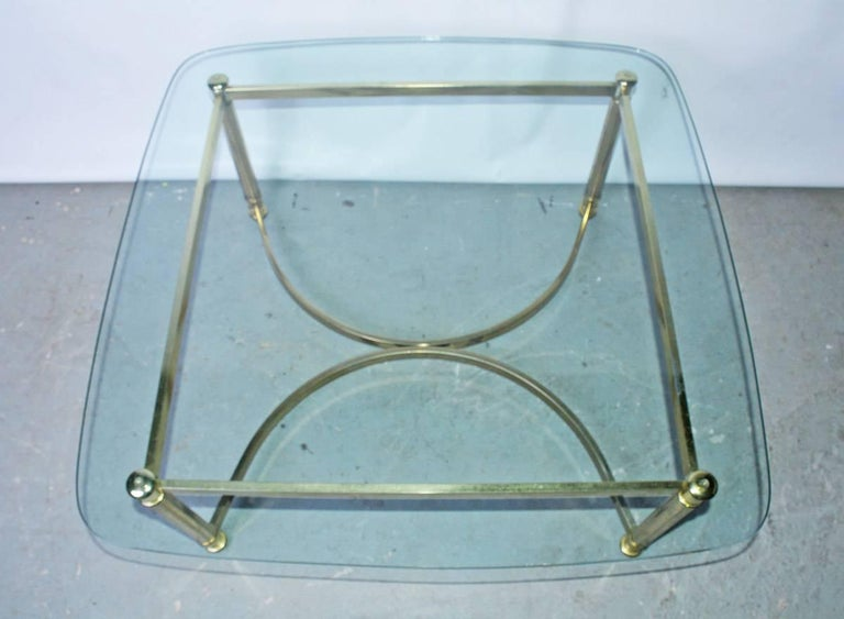Italian Mid-Century Modern Brass and Glass Top Coffee Table For Sale