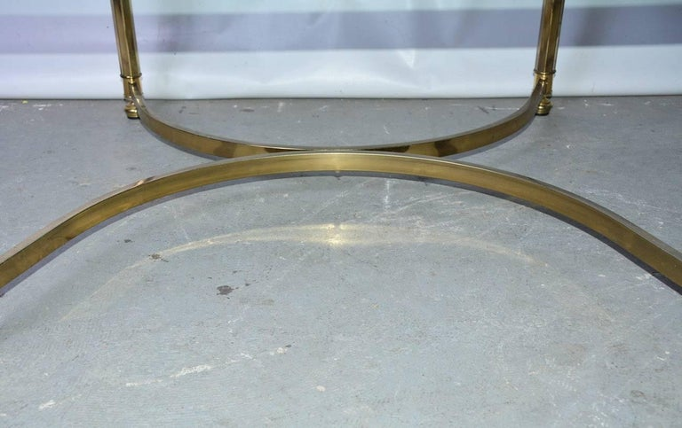Mid-Century Modern Brass and Glass Top Coffee Table For Sale 2
