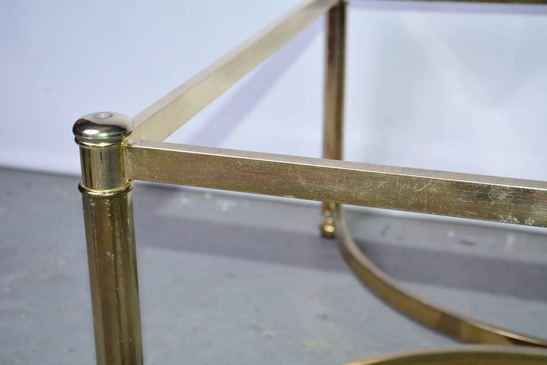 Mid-Century Modern Brass and Glass Top Coffee Table For Sale 3
