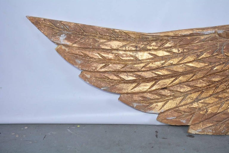 20th Century Pair of Ornamental Carved Wood Gilded Angel Wings For Sale
