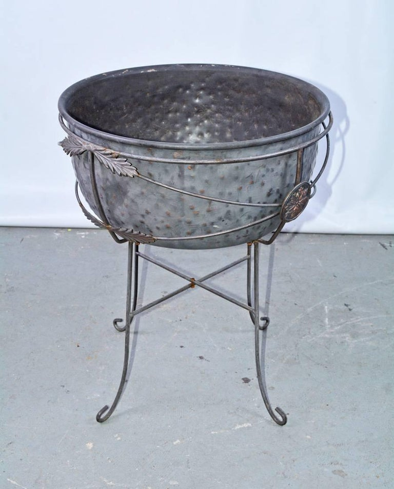 European Vintage Metal Planter on Plant Stand For Sale