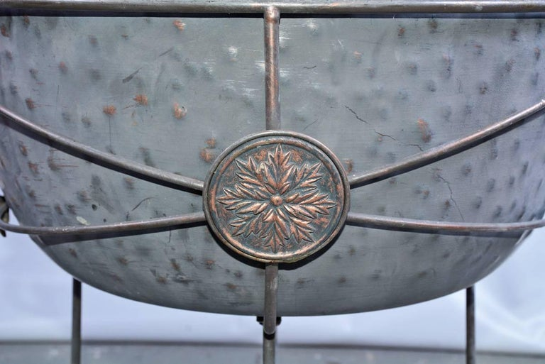 Vintage Metal Planter on Plant Stand In Fair Condition For Sale In Great Barrington, MA