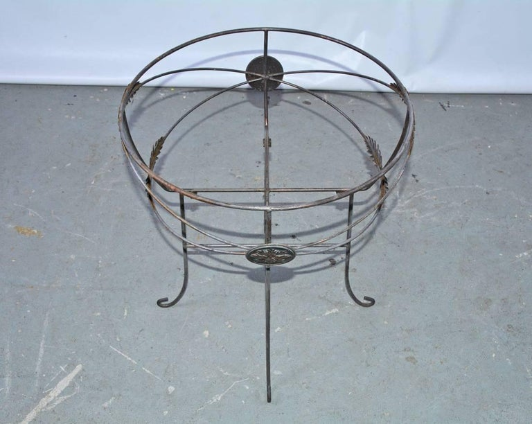 Vintage Metal Planter on Plant Stand For Sale 1