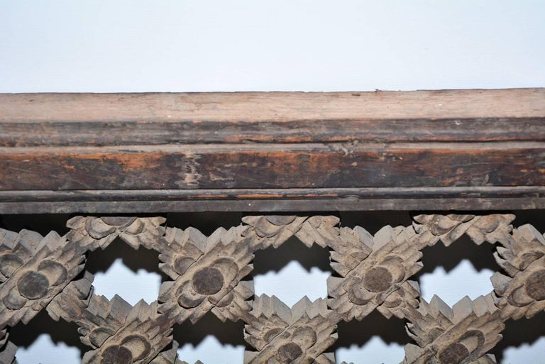 Asian Antique Hand Carved Wood Window Screen Wall Decoration For Sale