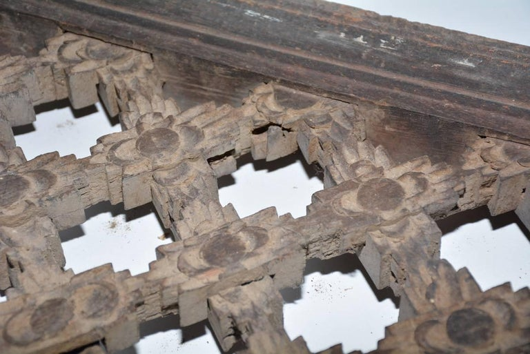 Hand-Carved Antique Hand Carved Wood Window Screen Wall Decoration For Sale