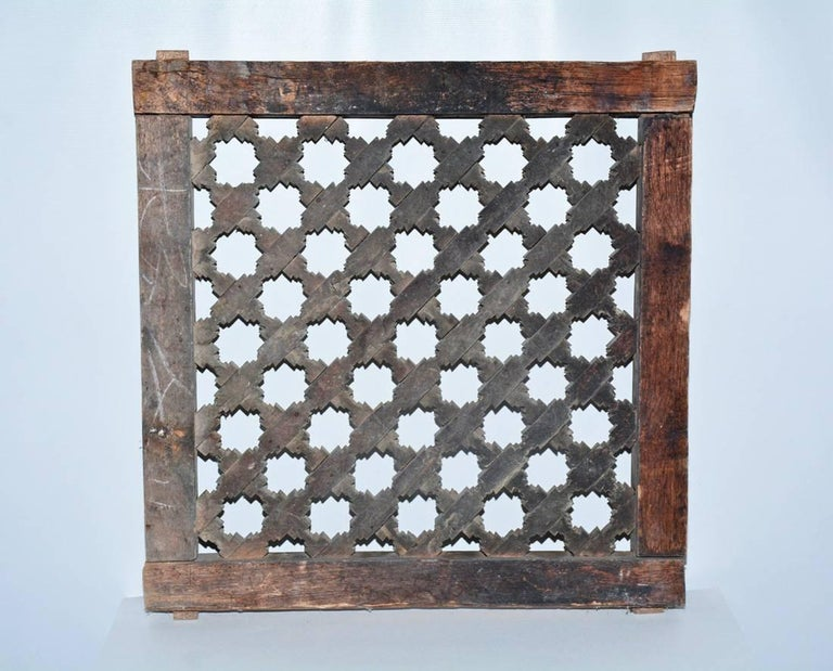 Antique Hand Carved Wood Window Screen Wall Decoration In Good Condition For Sale In Great Barrington, MA