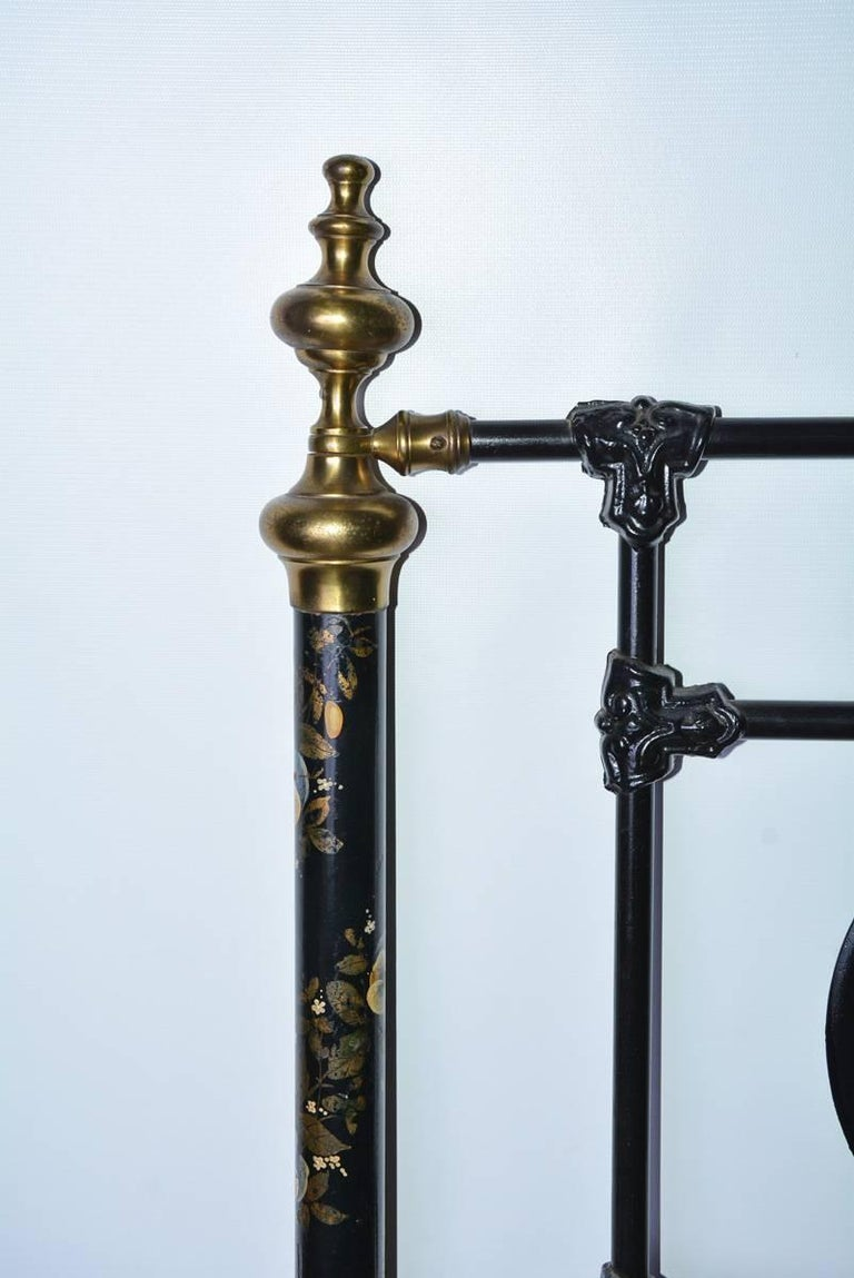 Machine-Made Napoleon III Style Brass and Iron Decorated Bed For Sale