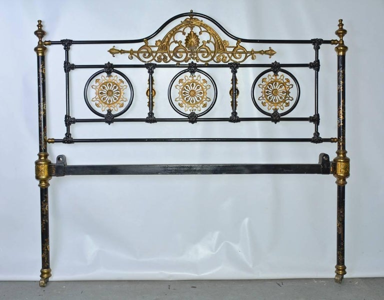 Napoleon III Style Brass and Iron Decorated Bed For Sale 4