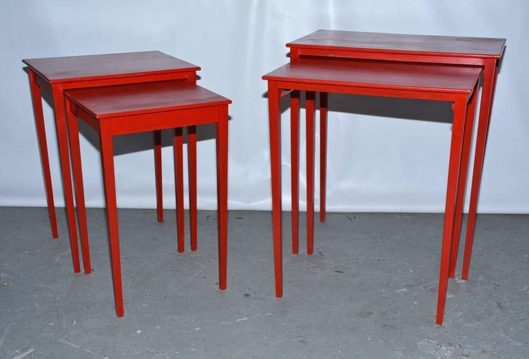 American Vintage Four-Piece Red Lacquer Nesting Tables For Sale