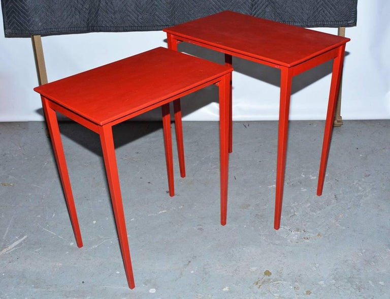Hand-Painted Vintage Four-Piece Red Lacquer Nesting Tables For Sale