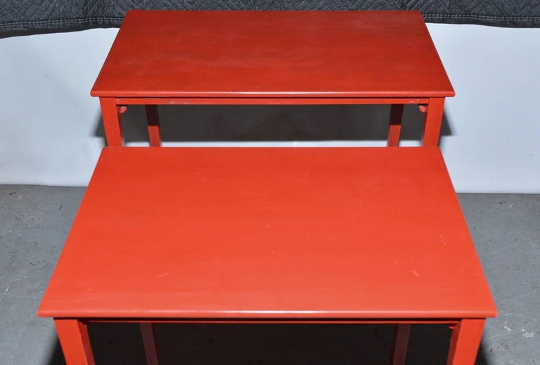 Vintage Four-Piece Red Lacquer Nesting Tables In Good Condition For Sale In Great Barrington, MA