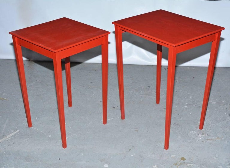 20th Century Vintage Four-Piece Red Lacquer Nesting Tables For Sale