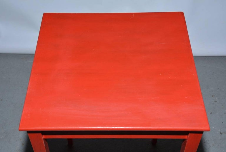 Wood Vintage Four-Piece Red Lacquer Nesting Tables For Sale