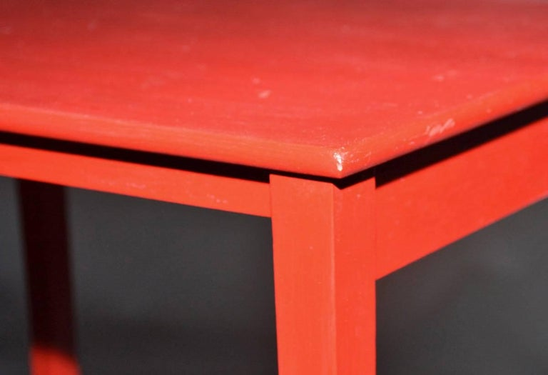 Vintage Four-Piece Red Lacquer Nesting Tables For Sale 1
