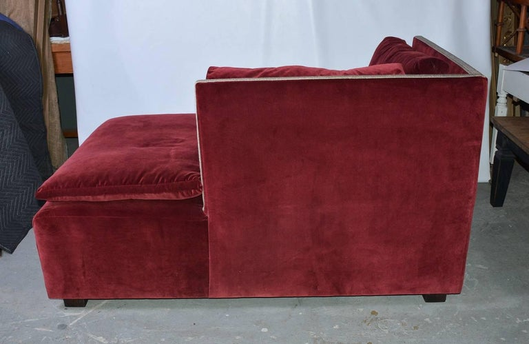 American Contemporary Velvet-Covered Chaise Longue For Sale