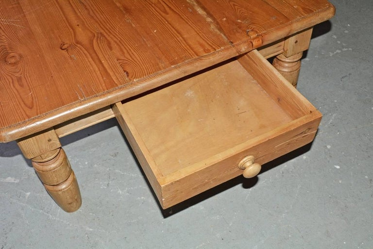 Hand-Crafted Pine Coffee Table For Sale