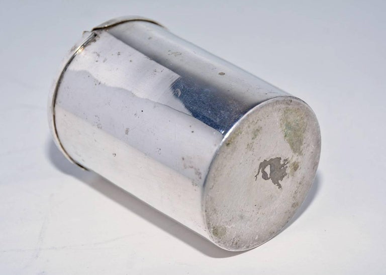 Machine-Made Small Silver Plated Canister with Hinged Lid For Sale