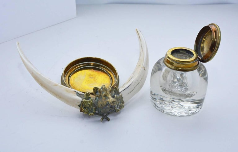 Charles II Ink Bottle with Boar Head and Antlers For Sale