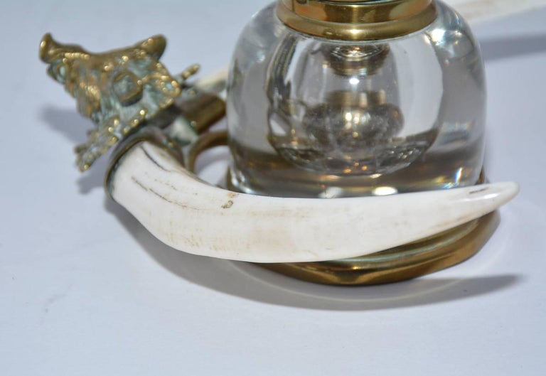 Brass Ink Bottle with Boar Head and Antlers For Sale