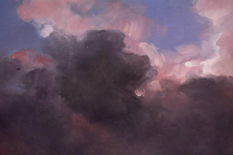 Purple storm clouds. Oil on canvas, figurative, at evening with classical palette by Columbian artist, Carlos Nariño, who lives and works in Paris since 1985. This painting was done while visiting the US in 2009. Exhibits include: Marlborough